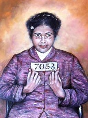 Ransom Rambo's interpretation of Rosa Parks' arrest photo is part of the exhibit of his work which opens Saturday at the Northeast Louisiana Delta African American Museum.