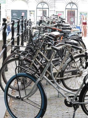 Bicycles upon bicycles--train station parking in the Netherlands!