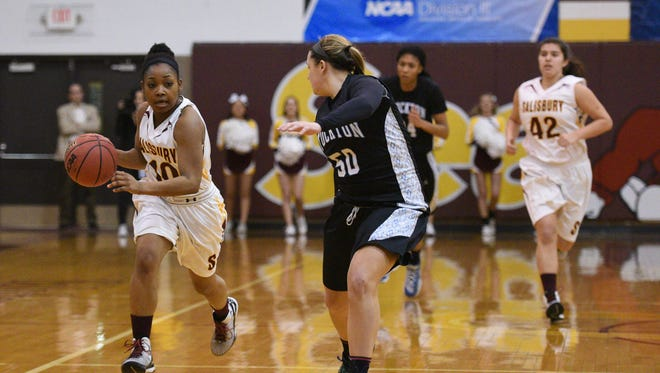 Salisbury's Anna Hackett drives the ball up court against Stockton University during the second round of the 2015 NCAA Division III Women's Basketball Championships.