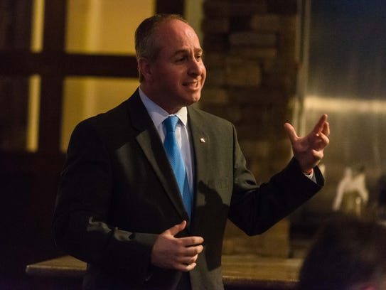 U.S. Senate candidate Brian Goldberg speaks at the Cumberland County GOP Convention at Eastlyn Golf Course in Vineland on Tuesday night. He did not receive its endorsement.