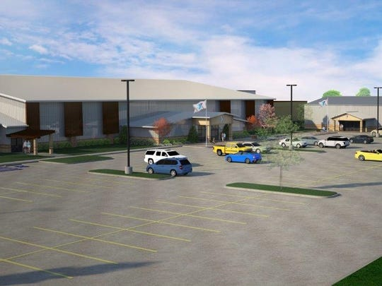 This sketch of the YMCA's Bill Bartley expansion plan shows the back entry to the gymnastics center. Added parking will be one of the extra benefits of the $13.5 million project.