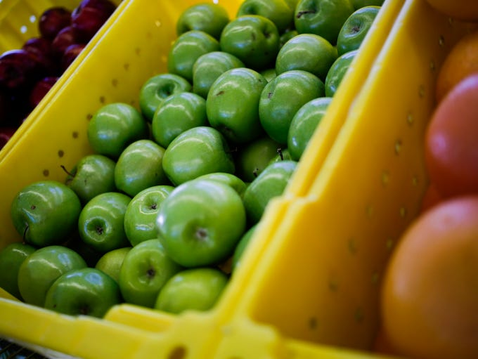 Fresh produce is seen here as customers shop at the