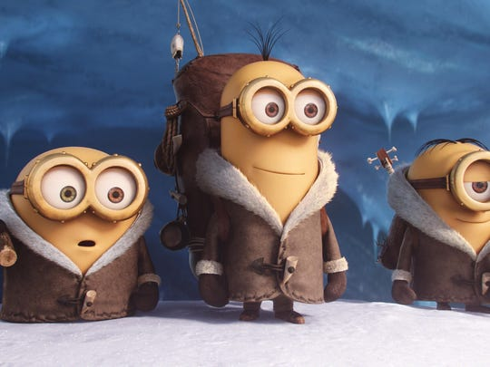 """Bob, Kevin and Stuart appear in a scene from the animated feature """"Minions."""""""