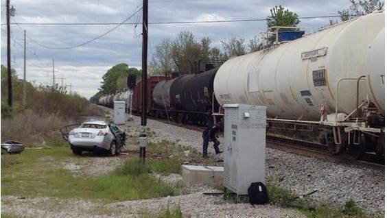 The scene of the vehicle vs. train collision on Friday morning.