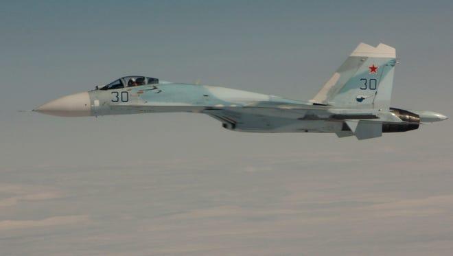 A Russian Su-27 fighter jet.