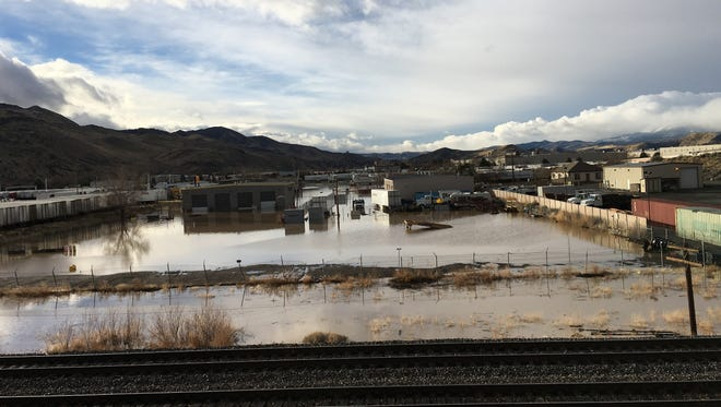 A view of flooding from the Interstate 80 onramp at Sparks Boulevard on Monday, Jan. 9, 2017.