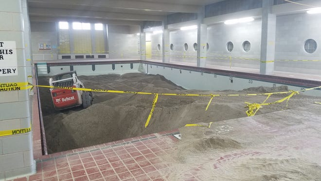 The pool at South Park Middle School in Oshkosh was filled in with concrete as part of a renovation to convert the area into a flex space and make the locker rooms compliant with Americans With Disabilities Act requirements.