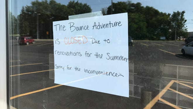 The Bounce Adventure in Waite Park is closed for renovations according to this sign on the door, photographed on Monday.