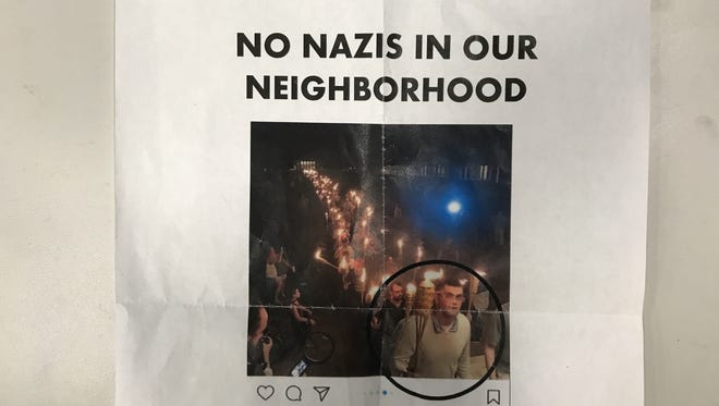 "A flyer circulated around the village of Honeoye Falls showed Jarrod Kuhn at the Charlottesville march and called him a ""neighborhood threat."" A description of his residence was also listed but has been cropped from this photo."