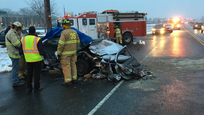 Emergency crews on scene at a two-vehicle, almost head-on crash just south of Dutchway, 2483 Stiegel Pike, Heidelberg Township, at 4:40 p.m. Jan. 16, 2018. Three people were transported to Hershey Medical Center for injuries sustained in the crash.