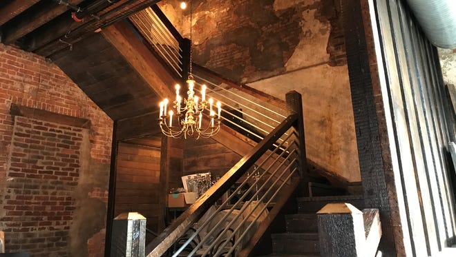 A hefty staircase winds around a brass chandelier and up to the second-floor dining room at Geraldine's Supper Club & Lounge, coming to Indianapolis' Fountain Square neighborhood in spring 2018.