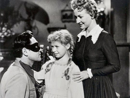 Clayton Moore, Beverly Washburn and Bonita Granville in 1956's The Lone Ranger movie