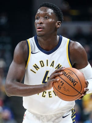 Indiana Pacers guard Victor Oladipo (4) during first quarter action between the Indiana Pacers and the Sacramento Kings at Banker's Life Fieldhouse, Indianapolis, Tuesday, Oct. 31, 2017.