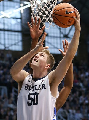 Butler Bulldogs forward Joey Brunk (50) shoots a layup during first half action between the Butler Bulldogs and the Saint Louis Billikens at Hinkle Fieldhouse, Indianapolis, Saturday, Dec. 2, 2017. Butler crushed Saint Louis, 75-45.