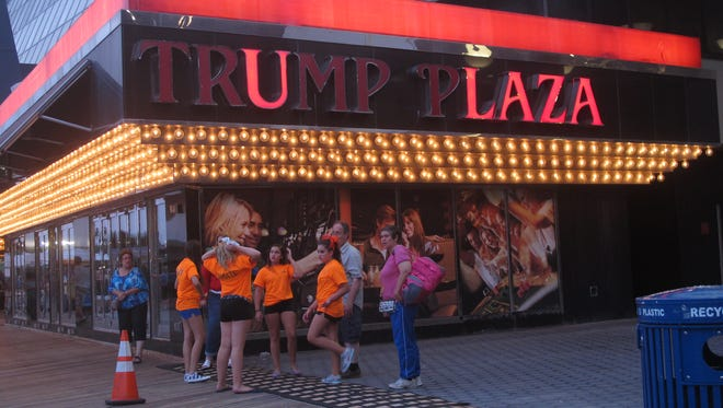 Several lights are burned out in the illuminated facade of Trump Plaza Hotel Casino in Atlantic City N.J.