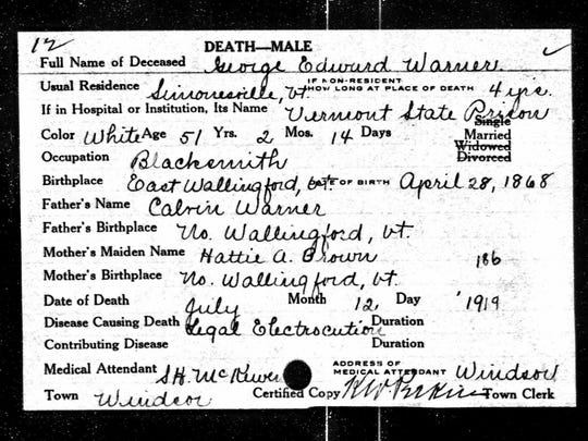Death certificate for George Warner dated July 12, 1919.