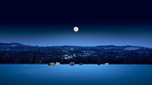 Moonrise over Onalaska, Wisconsin.