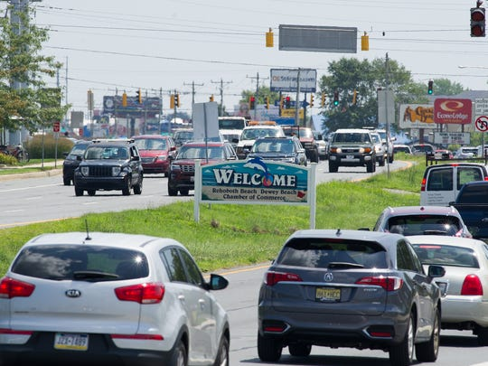 Traffic crawls along Del. 1 in Rehoboth Beach.