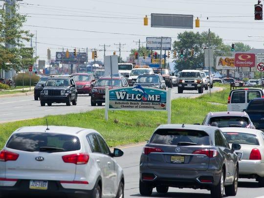 Traffic jams along Del. 1 during beach season can be