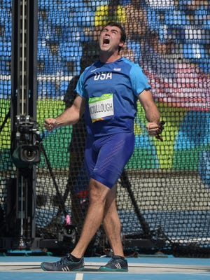 Aug 17, 2016; Rio de Janeiro, Brazil; Rudy Winkler (USA) reacts during the men's hammer throw qualifying round in the Rio 2016 Summer Olympic Games at Estadio Olimpico Joao Havelange. Mandatory Credit: Kirby Lee-USA TODAY Sports