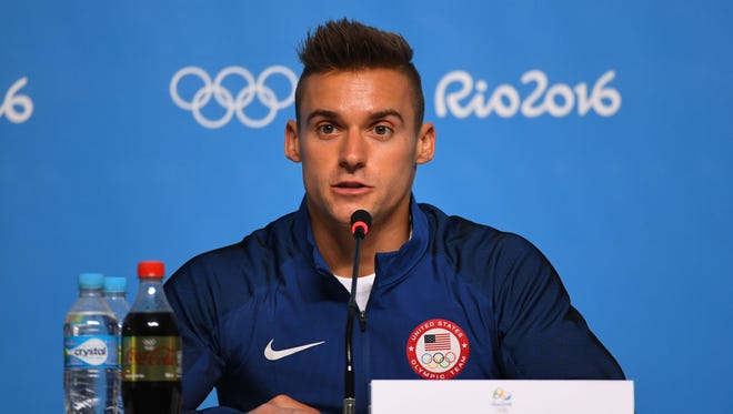 Sam Mikulak (USA) speaks during a men's gymnastics news conference before the Rio Olympics on Aug. 3.