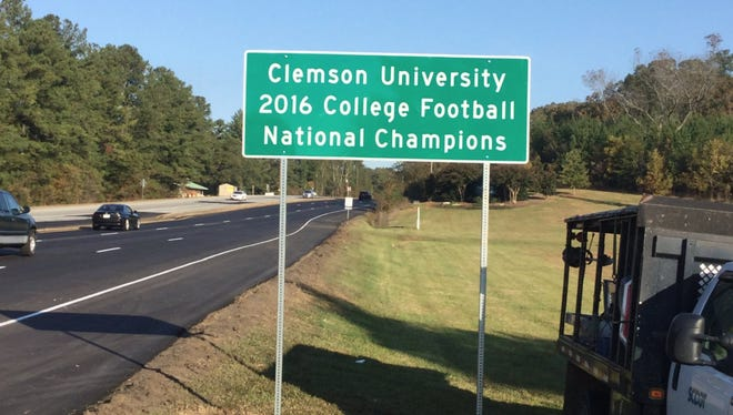 SCDOT replaced a Clemson University National Championship sign that was stolen from U.S. 76 near Clemson. Nov. 2, 2017