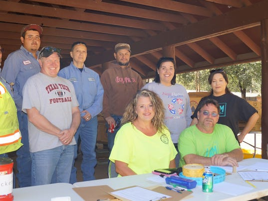 Board members of Keep Ruidoso Beautiful. Left to right first row: Melissa Haynes, David Tetreault (T-Bone), Reyna Flores; second row left to right: Gene Detrick , Todd Oberheu, Jacqueline Pride; third row left to right: Omar Lerma, Ann Margaret Arredondo and Sergio Boyle. Not available for photo: Tristan Baca