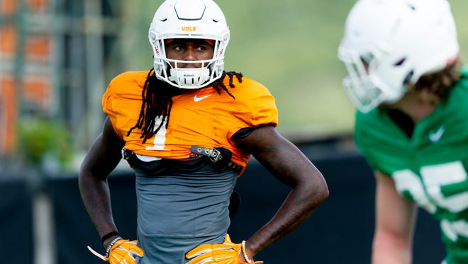 Tennessee wide receiver Marquez Callaway (1) during Tennessee fall football practice at Anderson Training Facility in Knoxville, Tennessee on Wednesday, September 6, 2017.