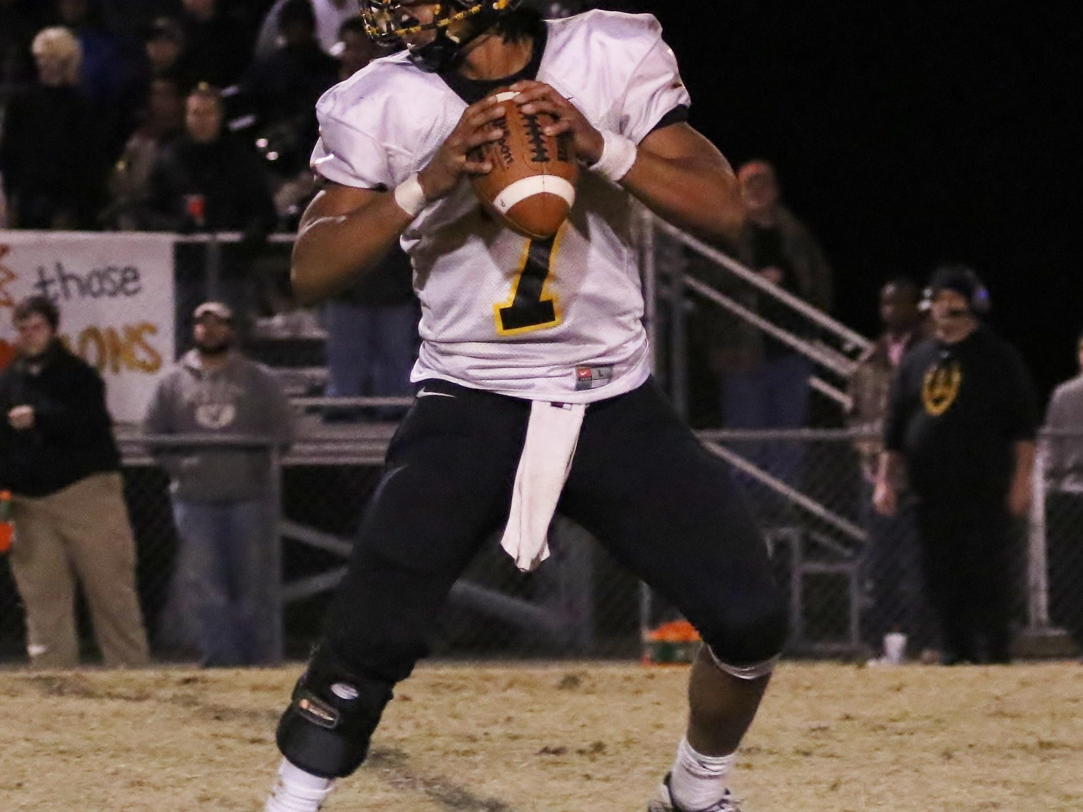 Peabody quarterback Kendrick Malone looks for a pass during last week's win at Dresden.