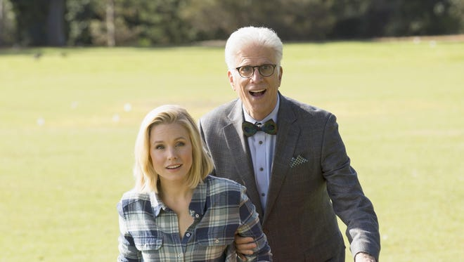 """Kristen Bell plays Eleanor, left, and Ted Danson is Michael in """"The Good Place,"""" which premieres on Sept. 19 on NBC."""