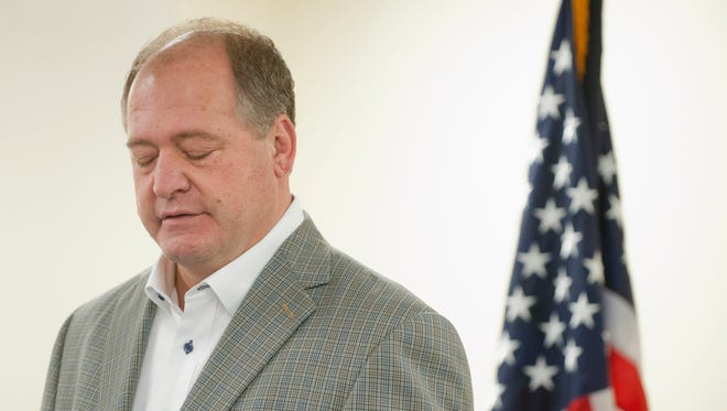 Kentucky Speaker of the House Jeff Hoover, voice often choked with emotion, resigned from his leadership post at a press conference in the State Capitol. Hoover said he plans to continue representing his constituency in the Kentucky House' 83rd legislative district. 05 November 2017