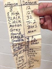 Lincoln Park Academy coach Wendell Adams keeps a list of his offensive and defensive plays tucked in a pants pocket during games.