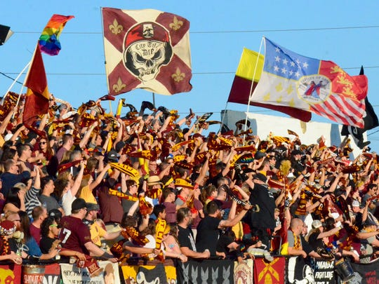 The Northern Guard supports Detroit City FC against AFC Ann Arbor in the National Premier Soccer League Midwest regional championship Saturday, July 29, 2017, at Keyworth Stadium in Hamtramck.