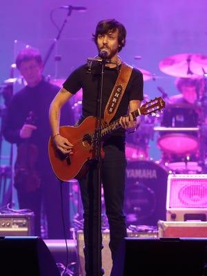 Chris Janson performs during the Randy Travis tribute concert at Bridgestone Arena on Feb. 8, 2017.