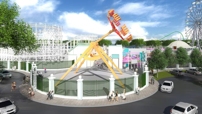 A rendering shows a new ride at Playland. Standard Amusements plans to use half its investment in the park for new rides.and attractions, a spokesman said.