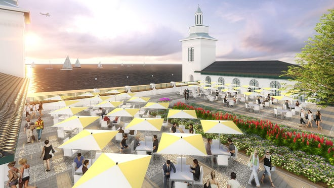 A rendering of a vista overlooking the Long Island Sound that would replace the Playland pool.