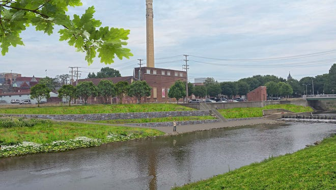 This rendering shows how improvements along the Codorus Creek would allow the public to get down to the water level to enjoy fishing or standing by the water.