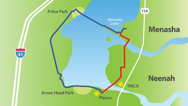 Neenah and Menasha are working to complete a trail that would loop the southern half of Little Lake Butte des Morts. The dark section of the trail is done.
