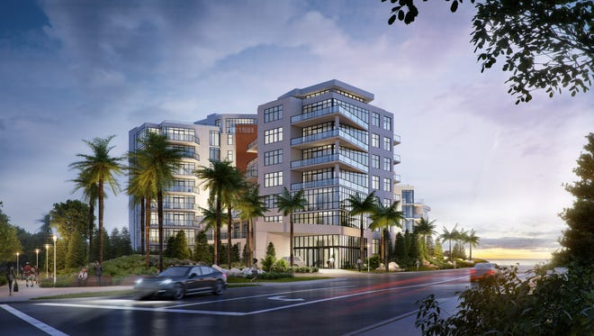 A rendering of the exterior of South Beach, a soon to be luxury condo in Long Branch.