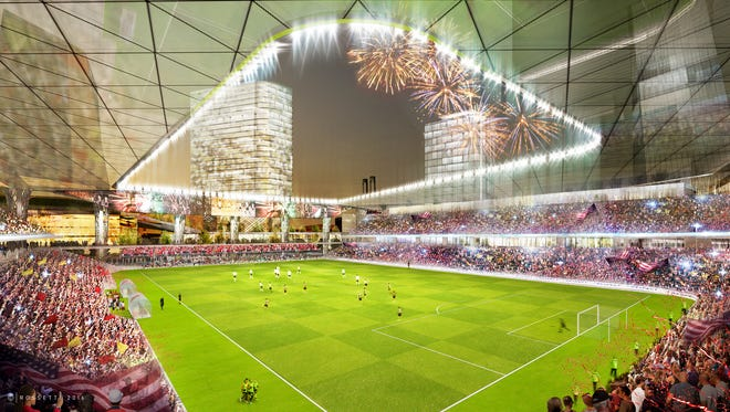 Billionaire Dan Gilbert and Pistons executive Arn Tellem announced plans April 27, 2016 for a $1-billion investment at Wayne County's unfinished jail site for a 25,000-seat Major League Soccer stadium and other developments, including restaurants, hotel rooms, and a commercial office tower.