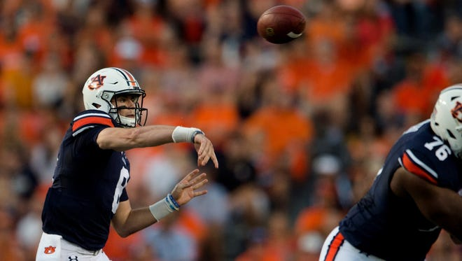 Auburn quarterback Jarrett Stidham (8) throws a pass during the NCAA football game between Auburn vs. Georgia Southern on Saturday, Sept. 2, 2017, at Jordan Hare Stadium in Auburn, Ala.