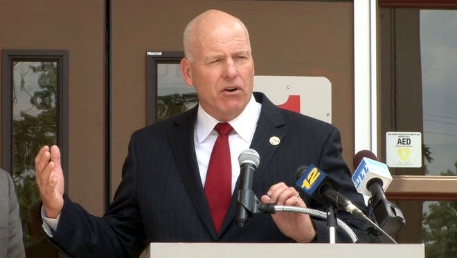 Toms River Superintendent of Schools David M. Healy at a news conference in June.