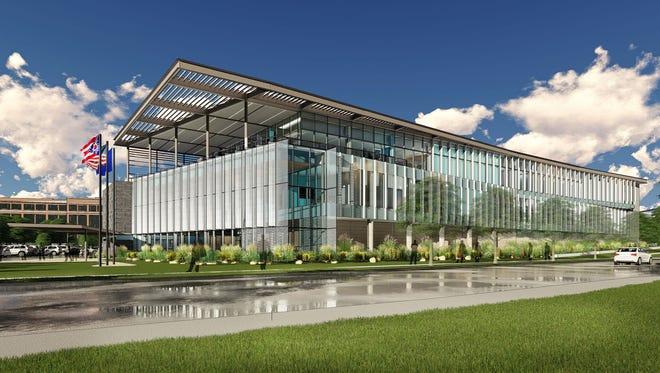 This is an architect's rendering of the new Hamilton County Crime Lab, which has conceptual approval to be built in Blue Ash.