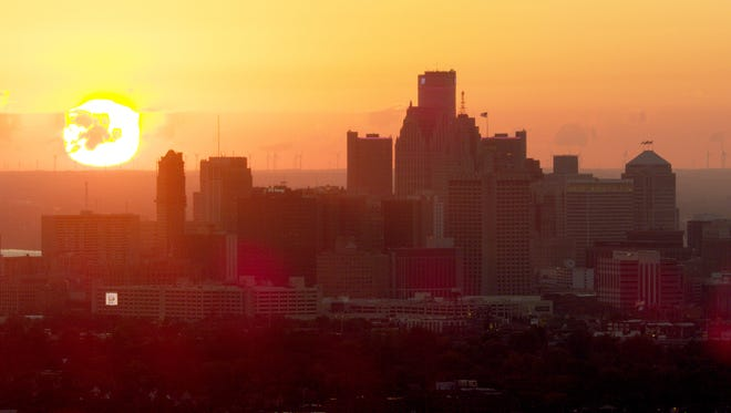 The skyline of Detroit from a video pitching Detroit as the best site for Amazon's new second headquarters.