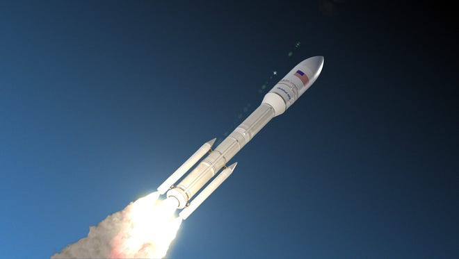 A computer rendering of what the new rocket being built by Orbital ATK in Chandler will look like.