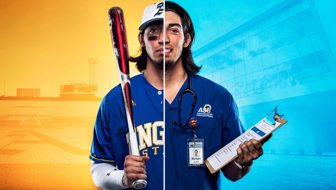 Senior Michael Urquidi proudly displays the Angelo State University logo on his chest, whether it's on his nursing scrubs or his Rams baseball uniform.