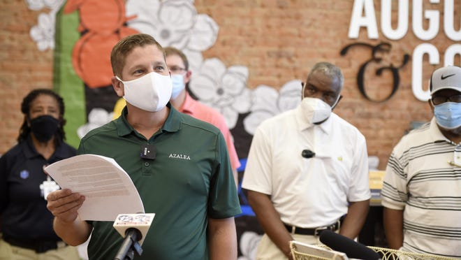 """Augusta District 8 Commissioner Brandon Garrett speaks during the """"Mask Up"""" press conference at the Augusta Convention & Visitors Bureau in Augusta, Ga., Monday afternoon July 20, 2020."""
