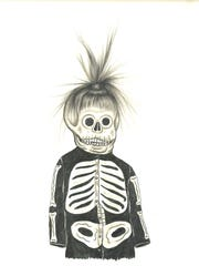 """Fred Stonehouse and Raeleeen Kao collaborated on """"Muerto"""" and other drawings in the """"Hair Club"""" show at Tory Folliard Gallery."""