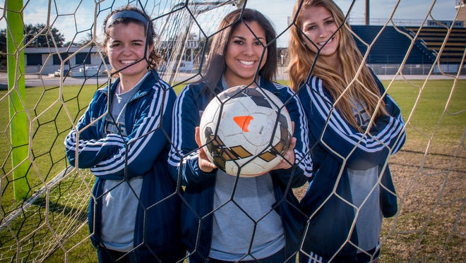 Gulf Breeze High seniors stars, forward Rainey Niles (left), goalkeeper Margeaux Hunter (center) and Blair Amberson, who have helped lead the Dolphins girls soccer team to the state Class 3A final four, have all agreed to play in the Subway High School All-Star Girls Soccer Game on March 1