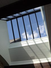 A vaulted sunroof illuminates the patio of a Marion